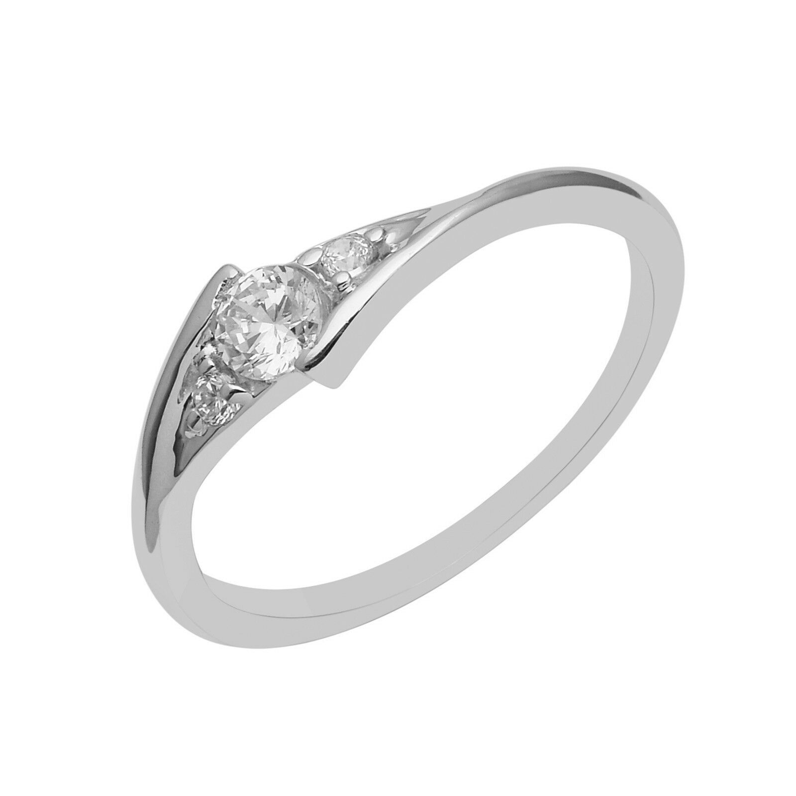 Three Stone Cubic Zirconia 925 Sterling Silver Stackable Women Engagement Ring