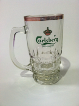 "Carlsberg Draught Beer Vintage Stein 5"" Heavy Glass Gold Rim Made in Den... - $19.79"