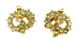 Rhinestone Earrings Clip On Back Gold Pretzel Twist Prong Set Costume Fashion - $24.47