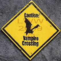 Caution Vampire Crossing Hand-painted Halloween Sign - $9.99