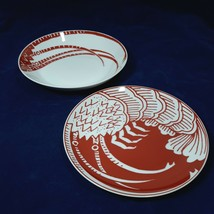 1970s Mikasa Cathy Hardwick The Lobster Red Coupe Bowl and Salad Plate R... - $27.72