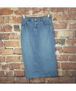 Old Navy Womens Denim Skirt Size 8 Slit Long Jean Pockets  - $18.81
