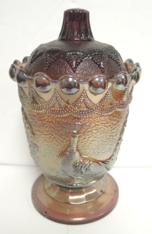 Vintage Amethyst Peacock Westmoreland Sugar Jar