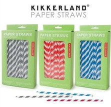 Kikkerland Biodegradable Blue Red Or Gray Stripe Paper Straws Bar Party ... - $167,35 MXN+