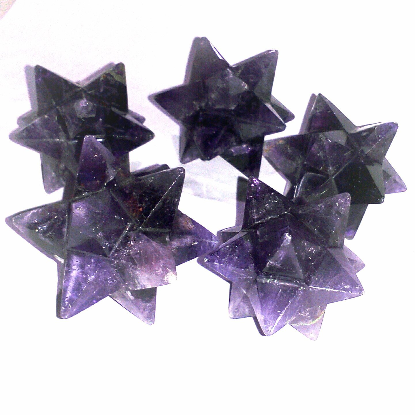 Primary image for Amethyst 12 Point Hand Carved Merkaba Star 5 pcs Decorative Home reiki Healing