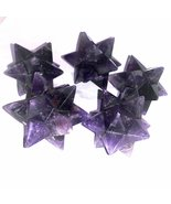 Amethyst 12 Point Hand Carved Merkaba Star 5 pcs Decorative Home reiki H... - $49.99