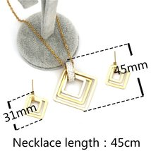 Party Wedding earrings necklace  for women  stainless steel jewelry sets image 2