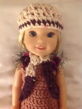 Wellie Wishers purple scarf/hat beanie American Girl 14 doll clothes out... - $7.91