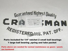 "Craftsman Ratchet repair parts kit 1/4"" Round head fine tooth 43178 & 43... - $8.94 CAD"