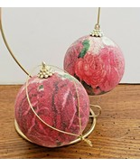 "2 Flocked Balls Red and Pink Roses Christmas Tree Ornaments 3"" Ex. Condi... - $7.91"