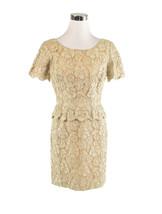Beige floral print lace short sleeve vintage peplum dress S - $99.99