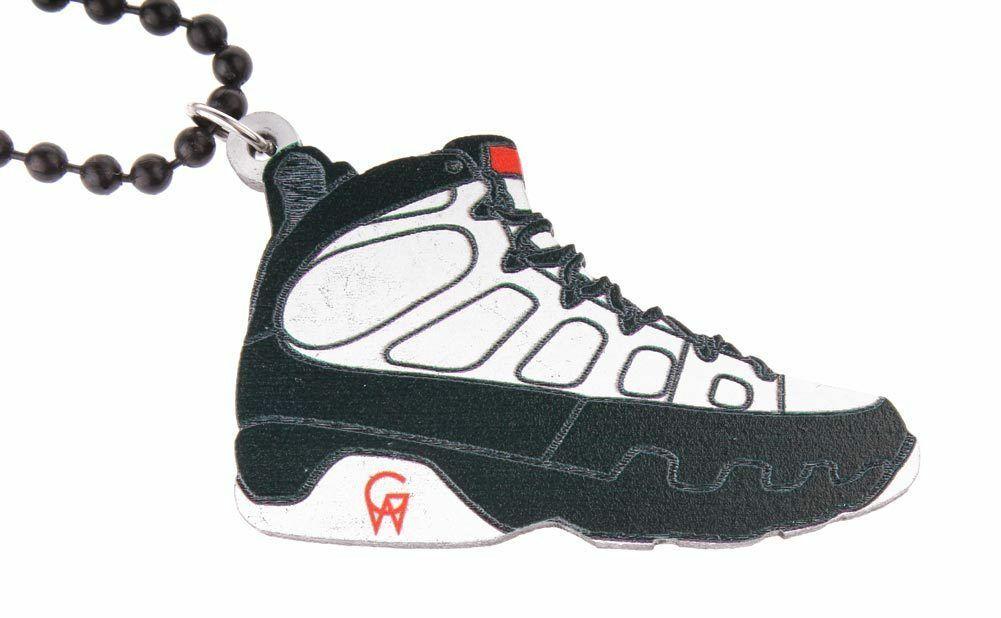 Good Wood NYC 9 Nine Sneaker Wooden Necklace White/Black 9 Shoe Kicks