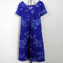 "Vintage Hilo Hattie Hawaiian Aloha Dress Blue Hibiscus 39"" Measured Chest - $28.04"