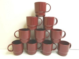 10 Tupperware VTG Maroon Stackable Coffee Tea Mug 2224B Set Camp Hunt Fish Hike - $39.27