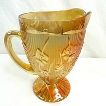 Vintage Jeanette Marigold Carnival Glass Iridescent Iris Herringbone Pit... - $39.59
