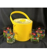 GEORGES BRIARD SIGNED 5 Piece Yellow Ice Bucket Set 4 Glasses Floral New... - $34.65
