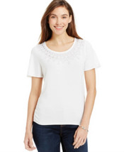 Jm Collection Ruched-Hem Embellished Tee SIZESMALL - $12.46