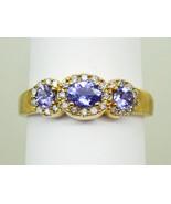 EFFY Natural Tanzanite & Earth Mined Diamond 3-Stone Ring 14k Gold Size ... - $749.00