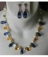 Vintage Pearl, Blue & Citrine Multi-Faceted Teardrop Glass Necklace & Ea... - $74.25