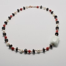 925 Silver Necklace with Coral Red Bamboo FW Pearls and Hematite Made in Italy image 2