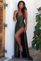 Long V-Neck Backless Simple Split Elegant Prom Dress Long Evening Gowns PROM  DR - $178.00