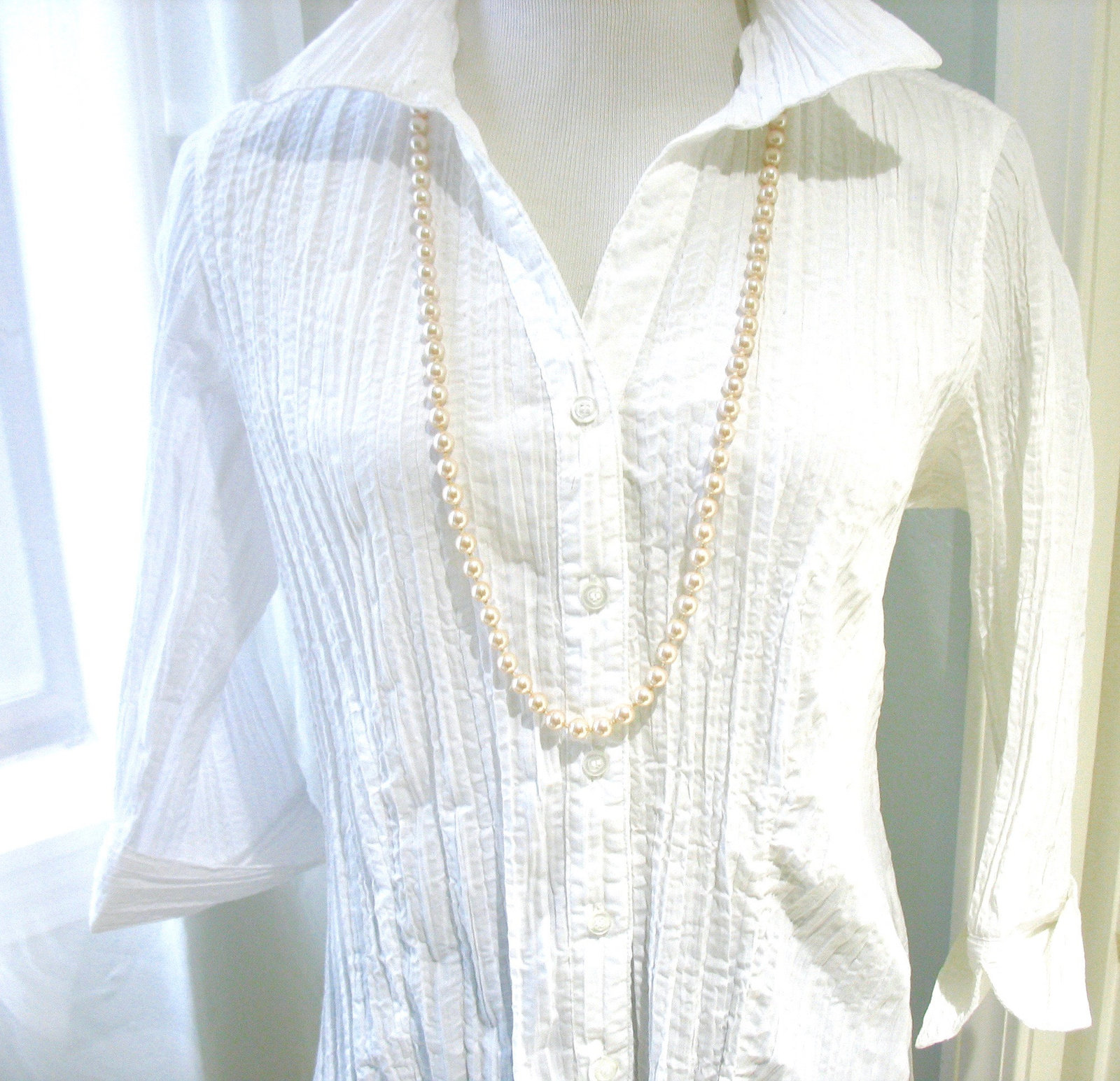 Pearl Necklace, Glass Pearls, Long, Champagne White, Silver, Decorative Box Clas