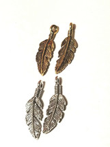 Feather Charm Fine Pewter Charm Pendant  6.5mm L x 23mm W x 2mm D