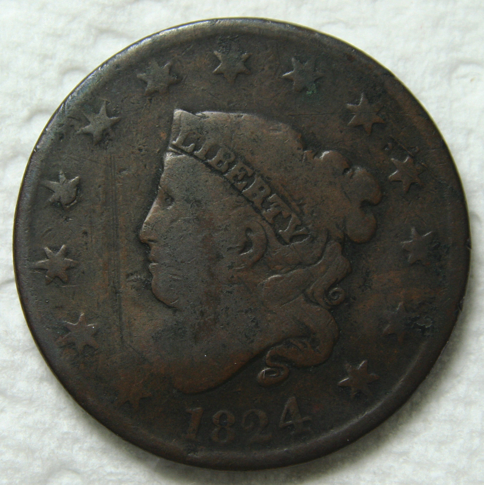1824/2 Large Cent Liberty Head Coin Lot # MZ 3394
