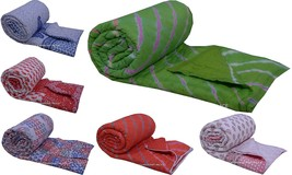 5 PC Wholesale Lot Cotton Twin Size Quilted Jaipuri Razai Hand-Block Bed... - $306.07