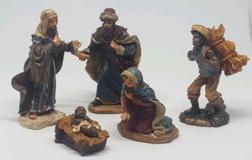 Primary image for 5 piece Christmas Nativity Set Scene Figures Figurines Baby Jesus Mary Wise Men