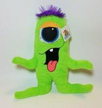 "Goffa International Stuffed One Eyed Green Monster Plush 9"" Purple Hair - $14.80"