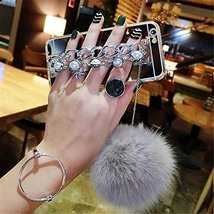 Case for HTC One M9,Luxury Hairy Fur Plush Pom-pom Ball Pearl Diamond Metal Hand - $12.86