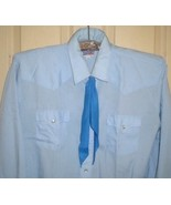 MKE PARDNER'S light blue western-style shirt + medium blue tie. Size 17.... - $9.89