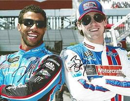 2X AUTOGRAPHED Darrell Wallace Jr. & Ryan Blaney 2017 Monster Energy Cup... - $141.78