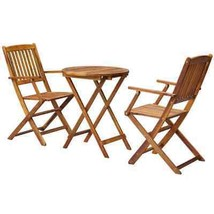 vidaXL Outdoor Bistro Set 3 Piece Solid Eucalyptus Wood Garden Table Chairs - $128.99