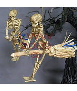 Samhain 2 NEW Skeleton Riding Brooms/ Besoms Ornaments - $7.99