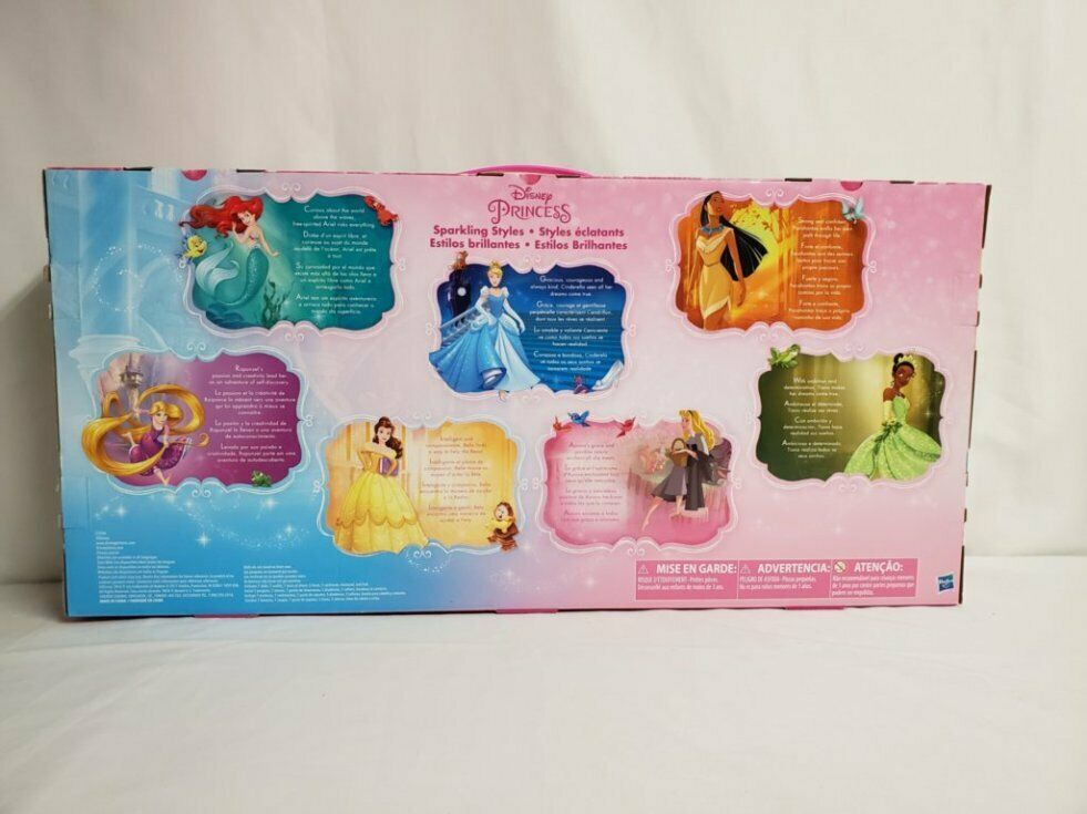 2017 Disney Princess Sparkling Styles Set of 7 Dolls NEW SEALED  image 2