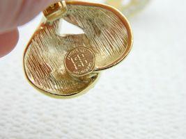 VTG GIVENCHY Paris New York Gold Tone Rhinestone Heart Clip Earrings image 4