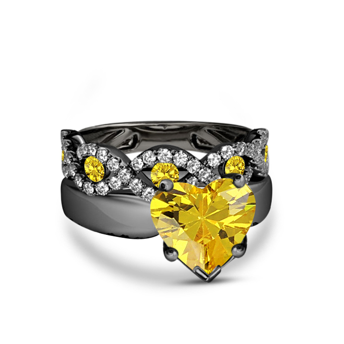 Primary image for Womens Wedding Bridal Ring Set Yellow Sapphire 14k Black Gold Finish 925 Silver
