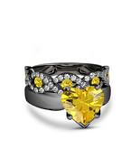 Womens Wedding Bridal Ring Set Yellow Sapphire 14k Black Gold Finish 925... - $94.27