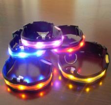 Nylon LED Pet Dog Collar Night Safety Anti-lost Flashing Glow Supplies 7... - $8.99