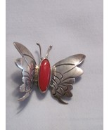 Silver apple coral butterfly pin - $20.00