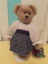 """GOLDEN Hand Made Mohair Bear 14"""" by Artist Mary Martin  w Outfit Basket - $79.15"""