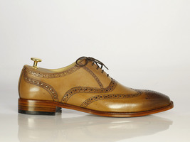 Handmade Men's Tan Leather Toe Burnished Wing Tip Heart Medallion Dress Shoes image 4