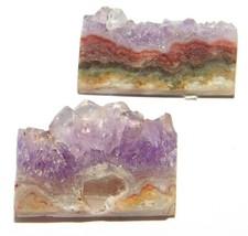 Amethyst Slice Natural Loose Gemstone Cabochon Lot Purple 65Cts. 2Pcs 33191 - $10.39