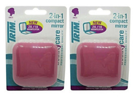 2Pack Trim 2-in-1 Dual Magnification Compact Mirror Pink Magnetic Closure - $9.89