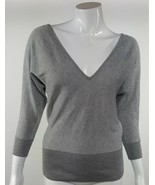 New York & Company Women Size XS Shimmery Light Gray V-Neck Open Back Bl... - $4.99