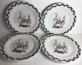 "Set Of 4 Salad Plates by Trisa Stoneware (Fat Chefs) 8"" D - $29.69"