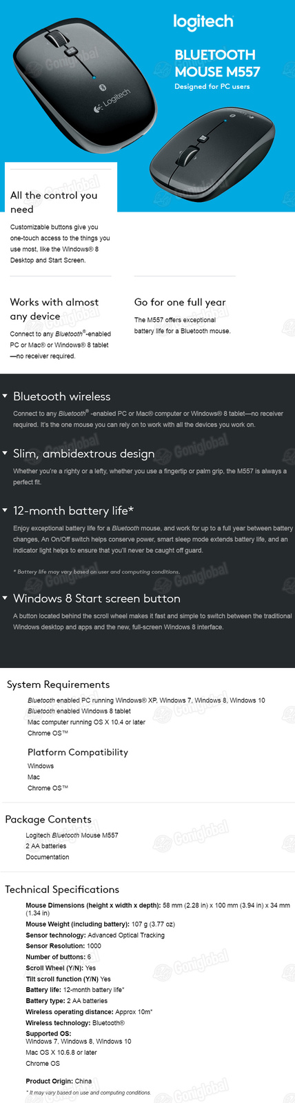 Logitech Logitech Wireless Bluetooth Gaming Mouse M557 Pearl White / Win 8 Start