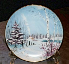 Winter Scene hand-painted by Frank L. Albrecht AA20-2302 Vintage Commemorative P
